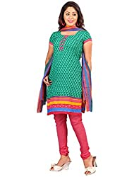 Yehii Women's Crepe Green Floral dress material Unstitched Salwar Kameez Dupatta for women party wear low price Below Sale Offer
