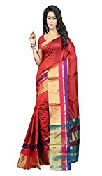 Sanju Trendy Red Cotton Traditional Wear Saree for Women