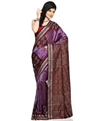 Utsav Fashion Women's Dark Lavender And Dark Maroon Handloom Pure Silk Saree With Blouse