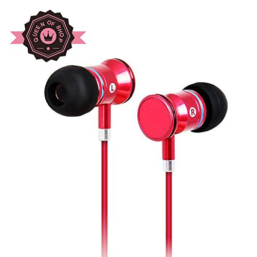 Masma55 Red Wired Headset Earbuds With Universal 1-Button Control Enhanced Bass For All Iphone Models - Iphone 5S, 5C, 5, 4S, 4 / All Ipad Models With Mic/Control For Android Smartphones