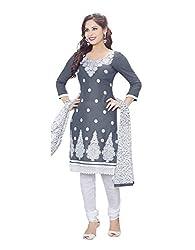 RK Fashion Womens Cotton Un-Stitched Salwar Suit Dupatta Material ( MITTAL-SANAM-7007-Grey-Free Size )