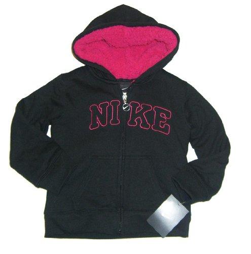 NIKE Sweatshirt Jacke mit Teddyfell, Schwarz/Pink, Gr. 98-104 (US 4)