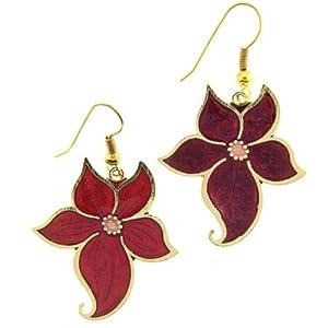 Red Flower Cloisonne Earrings - 31x29mm - Fishhook - Sold as a Pair