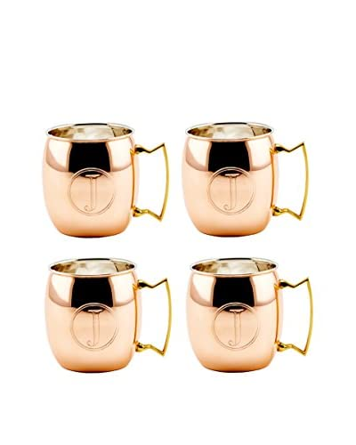 Old Dutch Set of 4 Copper 16-Oz. Moscow Mule Mugs Monogrammed J