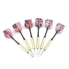 Buy 6PCS Copper Steel Tip Darts Needle UK & USA National Flag Dart Flights Play Dart Steel Throwing Toy by Baakyeek