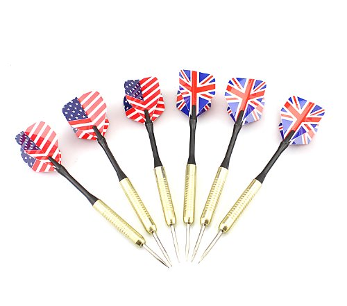 Cheap 6PCS Copper Steel Tip Darts Needle UK & USA National Flag Dart Flights Play Dart Steel Thr...