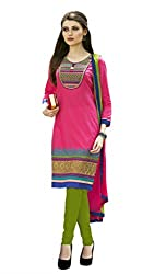 Kvsfab Pink & Green Pure Cotton un-stitched dress material KVSSK13PRMK