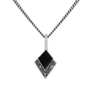 0.50ct Black Onyx & Marcasite 925 Sterling Silver Art Deco 45cm Necklace