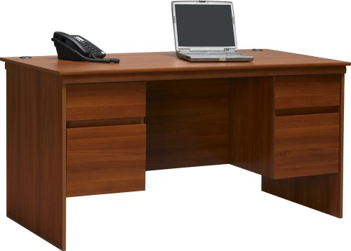 Altra Presley Executive Desk with File Drawers, Expert Plum Executive Desk Assembly