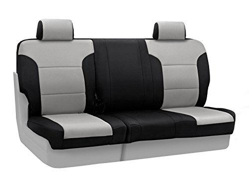Coverking Custom Fit Rear 60/40 Bench Seat Cover For Select Jeep Grand Cherokee Models - Neosupreme 2-Tone (Gray With Black Sides) front-1028770