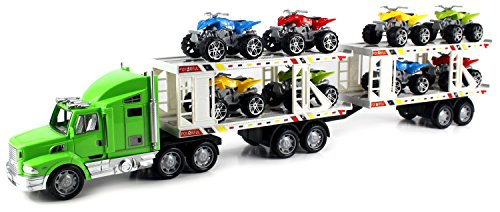 ATV Superior Trailer Children's Kid's Friction Toy Truck Ready To Run w/ 8 Toy ATVs, No Batteries Required (Colors May Vary) by Friction Toy Vehicles (Truck Trailer For Atv compare prices)