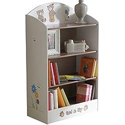 Demeyere 234548 Bücherregal Ted und Lily für Kinderzimmer 60 x 100 x 30 cm, beige / chocolate