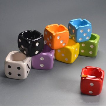 9 Cm Creative Dice Ashtray Ceramic Smoking Ash Tray Home Office Decor Ash Bin^.