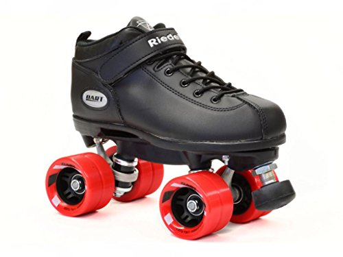 Riedell Skates - Dart - Quad Roller Speed Skates | Black | S