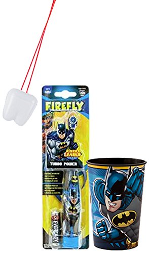 Batman Inspired Super Hero 2pc Bright Smile Oral Hygiene Set! (1) Batman Turbo Powered Spin Toothbrush & Batman Mouthwash Rinse Cup! Plus Bonus Tooth Saver Visual Aid! (Batman Brush compare prices)