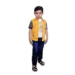Colors Kids Shirt Tshirt Pant Set For Boys(3 - 4 Yrs) Yellow