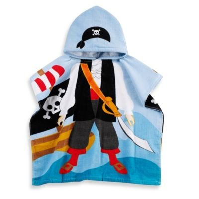 Kids Printed Pirate Hooded Beach Towel In Multi/black