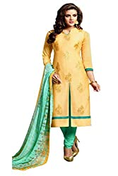 ZHot Fashion Women's Embroidered Un-stitched Dress Material In Cotton Fabric (ZHDM1010) Dark Yellow