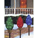 C7 Shape Extra Large Lighted LED Christmas Pathway Markers Lawn Stakes - Multi