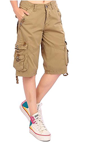 Goodfathers Women's Solid Color Casual Loose Fit Multi-Pockets Bermuda Cargo Shorts Khaki 1 US-10