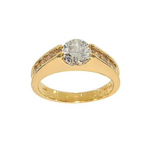 Unusual Floating CZ Engagement Ring Style with Channel Set Sides in Goldtone Size 5