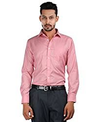 Oxemberg Men's Solid Formal Cotton Poly Red Shirt