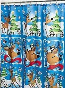 Reindeer Christmas Holiday Winter Fabric Shower Curtain