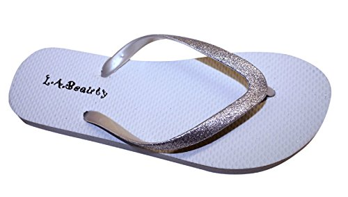 Womens Flip Flop With Glitter Straps and Comportable Footbed, Cool Looking Style-White_7