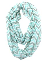 Cotton Cantina Soft Chevron Sheer Infinity Scarf (Teal/Gray/White)