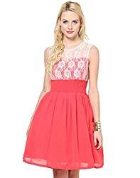 Besiva Sleeveless Cancan white & coral Dress
