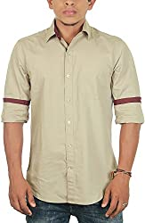 Lapilvi Men's Slim Fit Casual Shirt (lpb0014_tan_medium, Brown, Medium)
