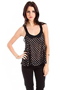 Color in Motion Sheer Polka Splotched Tank in Black
