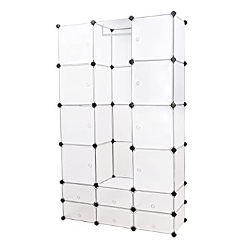 songmics diy armoire armoire penderie cubes tag re de rangement modulables plastiques. Black Bedroom Furniture Sets. Home Design Ideas