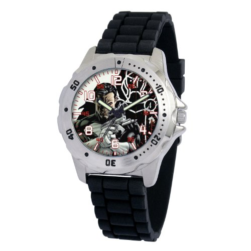 Marvel Comics Men's MA0710-D184-BlackRubber Marvel 'Punisher' Defender Watch