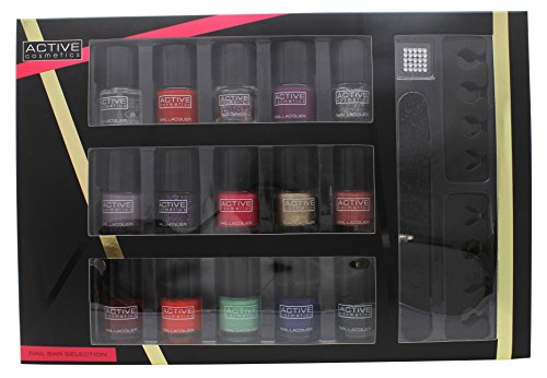 Active Cosmetics Glamour Nail Bar Selection 15 x 5ml Smalti + 2 x Separatori Dita Piedi + Lima + 25