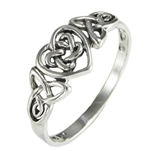 Silver Celtic Knot Triquetra Hidden Pentacle Heart Ring (sz 4-15) sz 8.5