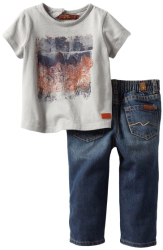 Review: 7 For All Mankind Baby-boys Infant Screen Tee/Jean Set, Limestone/Dark Indigo, 12 Months