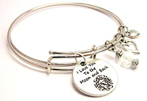 Detailed I Love You to the Moon and Back Adjustable Bangle Bracelet