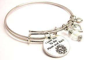 Detailed I Love You to the Moon and Back Adjustable Bangle Bracelet