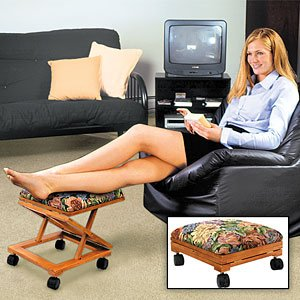 Adjust A Height Wood Floral Foot Stool On Wheels (Ottomans On Wheels compare prices)