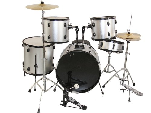kize-new-silver-complete-5-piece-adult-drum-set-cymbals-full-size