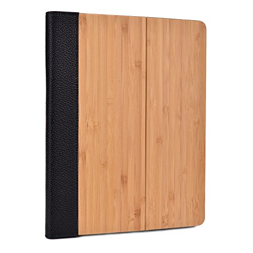 Cooper Cases(Tm) Naturpro Apple Ipad Mini Wood Folio Case W/ Black Leather Binding (100% Natural Bamboo Cover, Auto Sleep/Wake, Built-In Viewing Stand, Rear-Camera, Ports & Speaker Cutouts)