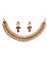 Shingar Jewellery Ksvk Jewels Antique Gold Plated Polki Kundan Necklace Set For Women (9268-as-ruby)