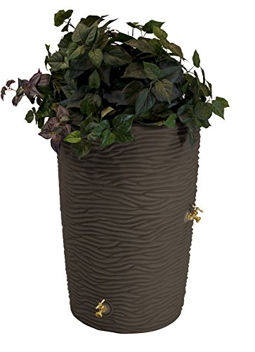 Good-Ideas-IMP-L50-OAK-Impressions-Palm-Rain-Barrel-50-Gallon-Oak