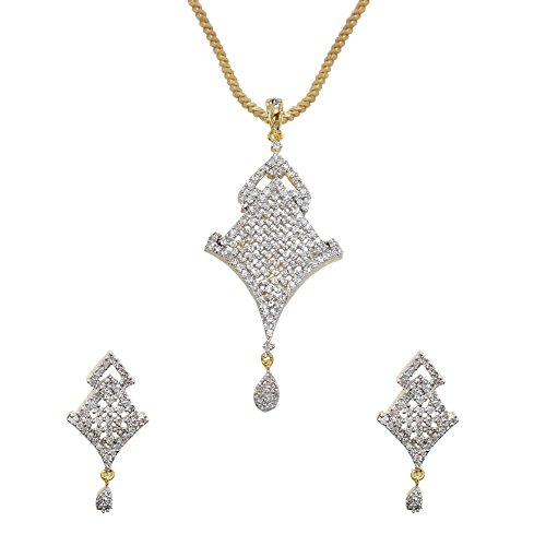 Sheetal Jewellery Silver & Golden Brass & Alloy Pendant Set For Women - B00TIH0HMC