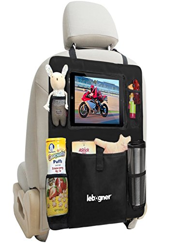 Backseat Organizer + iPad and Tablet Holder By Lebogner, X-Large Multifunctional 5 Pocket Storage Car Seat Back Organizer and Kick Mat Protectors, To Organize All Baby, Kids Travel Accessories (Car Organizer With Ipad Holder compare prices)