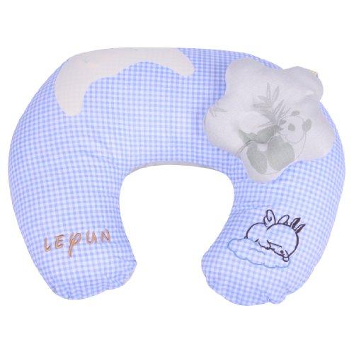 Leyun Bamboo Fiber High-Grade Embroidery U-Type Breastfeeding Pillow Blue front-344127