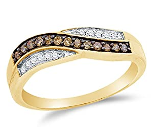 Size 10 - 10K Yellow Gold Chocolate Brown & White Round Diamond Cross Over Fashion Ring - Channel Setting (1/4 cttw.)