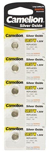 Camelion SR57W oxyde d'argent 1,55 V piles bouton (Pack de 5)