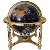 "Collectors Edition14"" Tall Blue Jasper Ocean Tripod Gold Leg Table Stand Gem Gemstone World Map Globe Globes Maps"